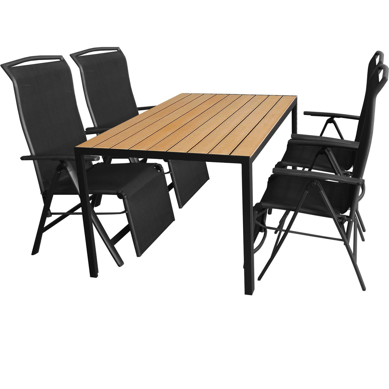5tlg. Gartengarnitur Aluminium Gartentisch 150x90cm mit Polywood Tischplatte Golden Teak Klappsessel mit 2x1 Textilenbespannung Rücken- und Fußteil um 5 Positionen verstellbar