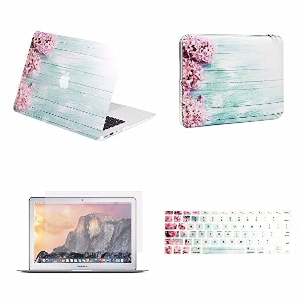 TOP CASE - 4 in 1 Essential Bundle Graphics Rubberized Case, Keyboard Cover, Screen Protector, Sleeve Compatible MacBook Air 13 A1369 & A1466 (Older Version, Release 2010-2017) - Pink Hyacinth (Color: Pink Hyacinth, Tamaño: MacBook Air 13 (Older Version, 2010-2017))