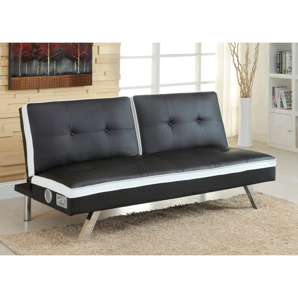 Furniture of America Duoton Convertible Futon with Bluetooth Speakers