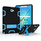 Samsung Galaxy Tab A 10.1 with S pen Case, Beimu 3in1 Combo Hybrid Heavy Duty Full-body Holster Rugged Defender Protective Kickstand Case for Samsung Tab A 10.1 with S Pen SM-P580/P585 (Black+blue) (Color: Black+blue)