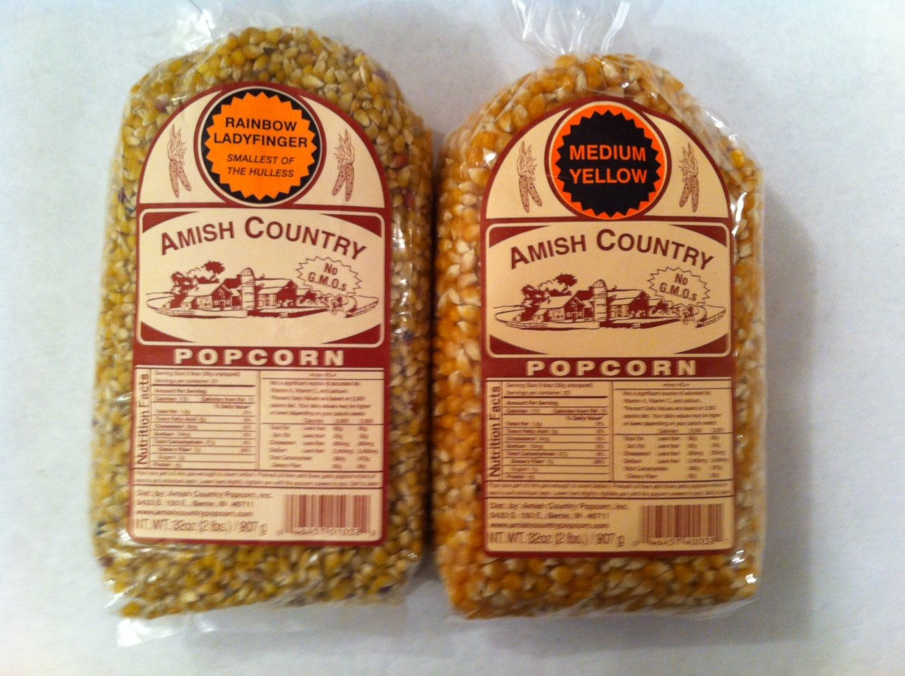 Amish Country Popcorn Variety 2 Bags 2 Lbs Each Total 4 Lbs Non Gmo, Rainbow Ladyfinger, Medium Yellow