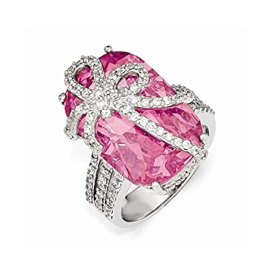 Cheryl M Sterling Silver Pink and White CZ Bow Ring