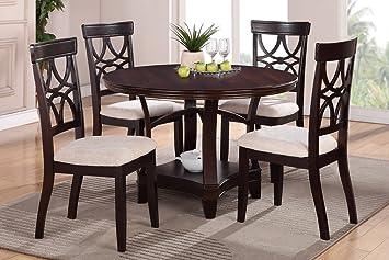 Rochelle 5 piece Espresso Round Dining Table Set
