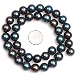 Freshwater Cultured Pearl Beads for Jewelry Making Natural Gemstone 11mm Black with Peacock Green Luster Round 15