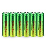 WolfonFire 6PCS 3.7V 5000amh Rechargeable Batteries Flashlight Headlamp Batteries Button Top with Tip (Battery Size:18x65mm) (Tamaño: Only Battery)