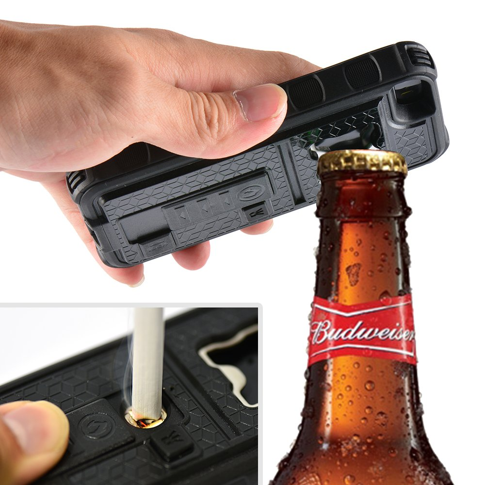 ZVE® Multifunctional Cigarette Lighter Cover for iPhone 5 Built-in Cigarette Lighter/bottle Opener/ Camera Stable Tripod Case (black)
