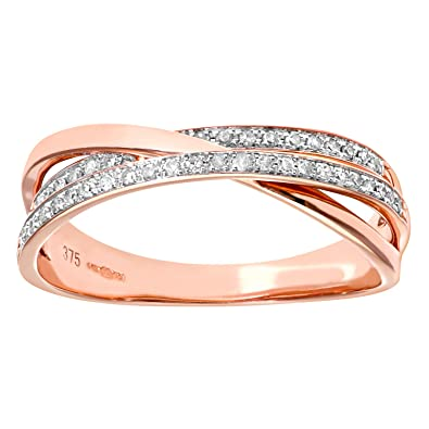 Naava 9ct Rose and White Gold Diamond Crossover Ring