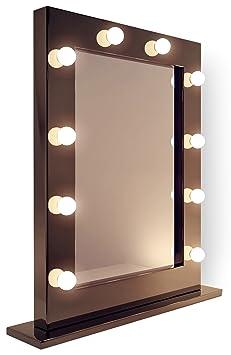 Miroir pour maquillage et loge de th tre noir brillant for Miroir loge de star