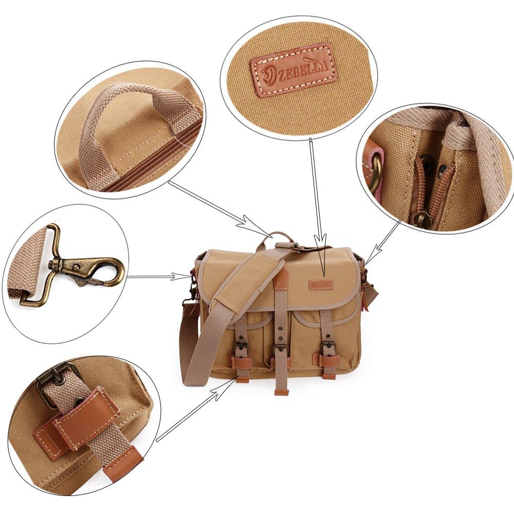 Zebella Casual Waterproof Canvas Shoulder Bag SLR DSLR Camera Case 3