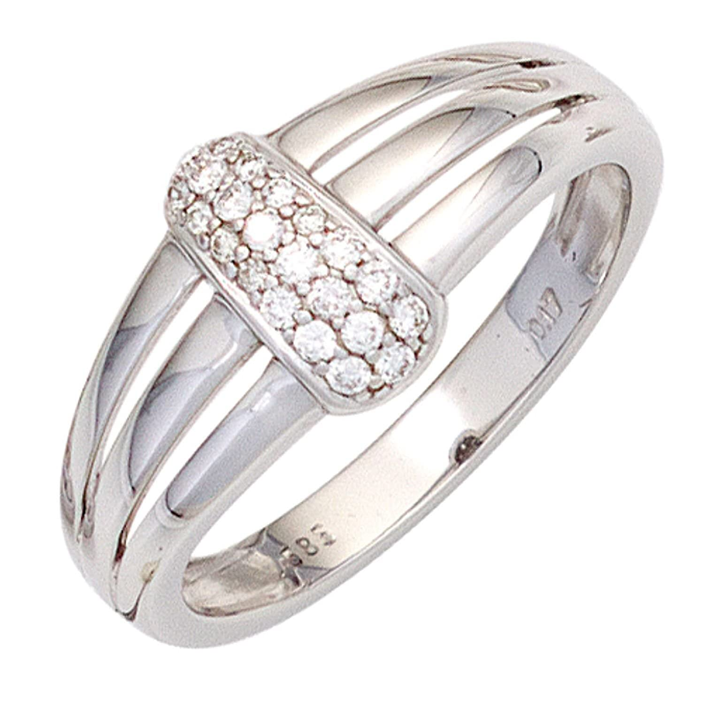 Damen Ring 585 Weißgold 22 Diamanten Brillanten 0,17ct. als Geschenk
