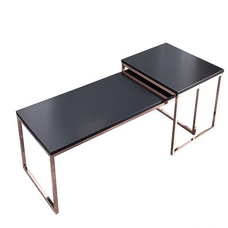 2er Set Couchtisch NOBILE schwarz matt kupfer Metall Satztische Tischset Beistelltische Wohnzimmer