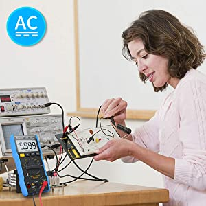 Digital Multimeter,TRMS 6000 Counts Manual and Auto Ranging, Amp Volt Ohm DC/AC Current & Voltage Multimeter, NCV, Live Line, Diode, Resistance, Frequency, Capacitance, Temperature, Test Leads. (Color: 6000counts digital multimeter)