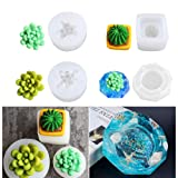 Heflashor Casting Molds Cactus Succulent Flowerpot DIY Resin Silicon Mold for Crafts Making 4pcs