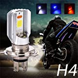EverBright 2-Pack H4 For Motorcycle Headlight White/Red/Blue Switchback High Low Beam COB 12W Led Bulb 900Lumens DC-12V