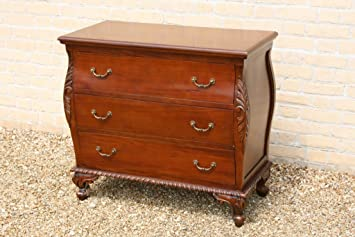 BOMBEE CHEST OF 3 DRAWERS WITH POP UP MIRROR SOLID MAHOGANY