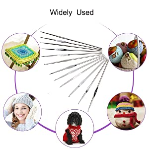 Crochet Hooks, DIY Craft Yarn Mixed Aluminum Handle Knitting Needles Sewing Weave Set Full Kit Tools with Gauge Rule Scissors Stitch Holders (Purple)