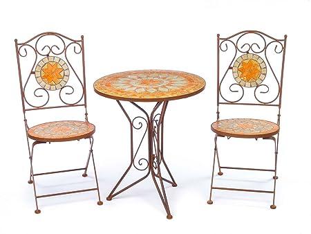 Set de table de jardin et 2 chaises carreaux de mosaïque fer style ancien