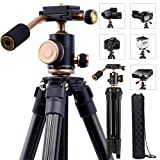 DSLR Travel Tripod, Portable Lightweight Camera SLR Ball Tripods with 1/4 Plate,Bubble Fluid Level,Handle and Bag travel 360 degree pan tripod For Canon Nikon Sony (Color: black, Tamaño: camera tripod compact)