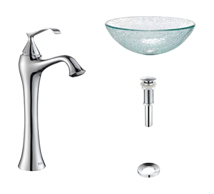 Kraus C-GV-500-12mm-15000CH Broken Glass Vessel Sink and Ventus Faucet Chrome