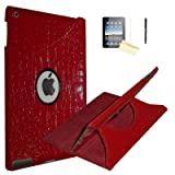 iPad 2 Case, iPad 3 Case, iPad 4 Case, JYtrend (R) Rotating Stand Smart Case Cover Magnetic Auto Wake Up/Sleep for iPad 2/3/4 A1395 A1396 A1397 A1403 A1416 A1430 A1458 A1459 A1460 (Crocodile) (Color: Crocodile)