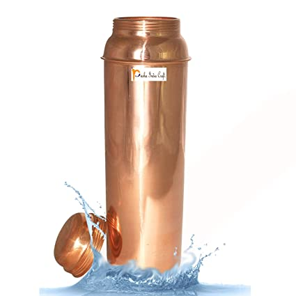 Prisha India Pure Copper Water Bottle Best Quality Thermos for Ayurvedic Health Benefits at amazon