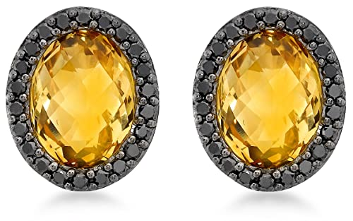 Carissima Gold 9ct Yellow Gold 0.33ct Black Diamond and Oval Citrine Stud Earrings