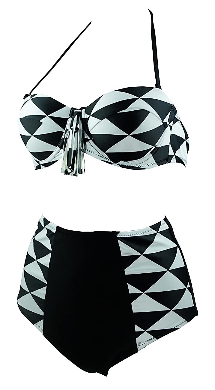 Cocoship Retro Black White Geometric Patterns High Waist Bikini Tassel Swimsuit(FBA) 1