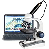 AmScope 40X-1000X LED Cordless All-Metal Framework Full-Glass Optical Lens Student Compound Microscope with Coarse & Fine Focusing + Digital Camera USB Imager