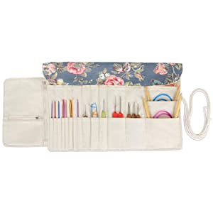 Teamoy Knitting Needles Holder Case(up to 11 Inches), Cotton Canvas Rolling Organizer for Straight and Circular Knitting Needles, Crochet Hooks and Accessories, Peony - NO Accessories Included (Color: Peony, Tamaño: 11 inches)