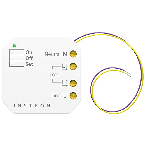 Insteon Micro On/Off Switch Adapter, Inline Module, 2443-222 - Insteon Hub required for voice control with Alexa & Google Assistant (Color: White, Tamaño: 4.20in. x 4.20in. x 1.30in.)