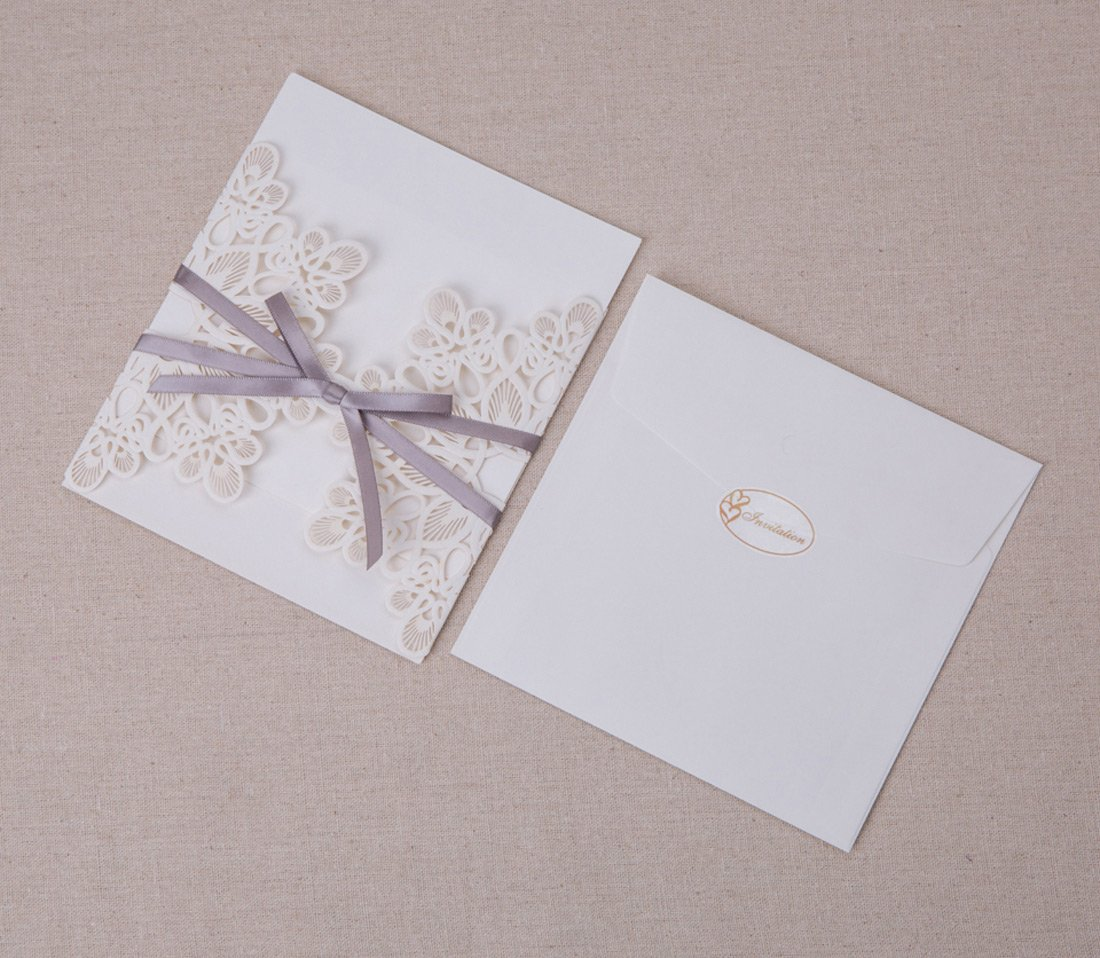 WISHMADE 50 Count Luxury Elegant Laser Cut Invitations Cards Kits White Printable for Wedding Birthday Baby Shower Bridal Shower with Ribbon and Envelopes 6