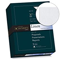 Southworth Fine Linen Paper, 25% Cotton, 24 lb, White, 500 Sheets (554C)