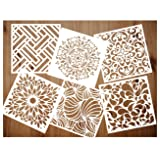 Pack of 6 Reusable Stencils Set (6x6 Inch) Laser Cut Painting Stencil Floor Wall Tile Fabric Wood Stencils (white3) (Color: white3)