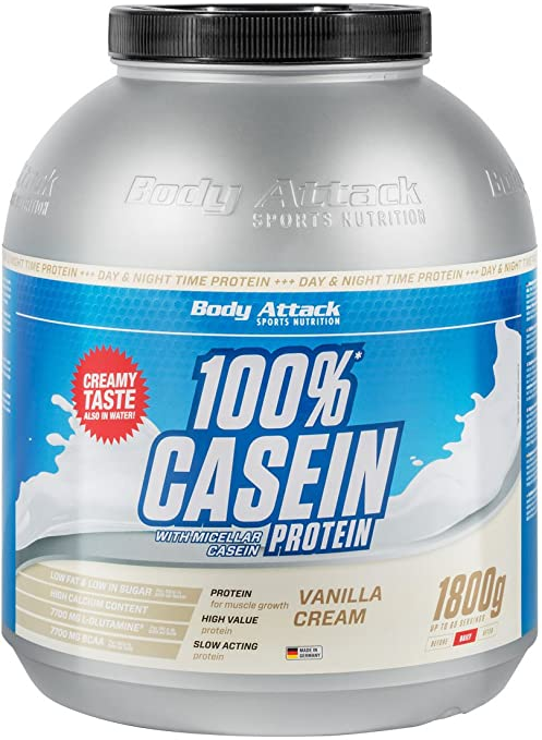 Body Attack 100% Casein Protein Vanilla Cream, 1er Pack (1 x 1.8 kg)