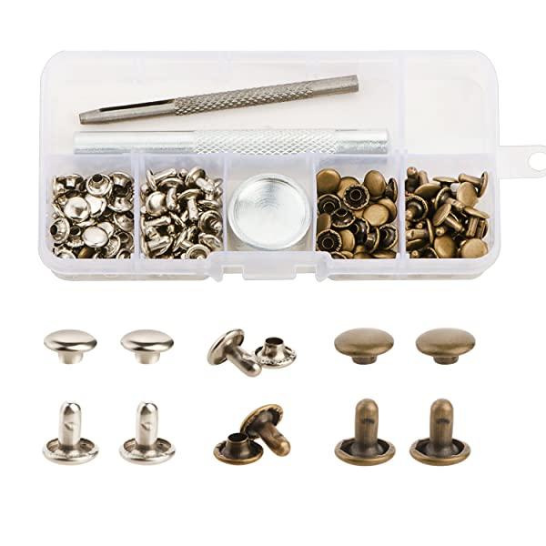 YMAISS 60 Sets Leather Rivets Double Cap Rivets with Fixing Tool Kit for Leather Craft Repairing Decoration, 2 Color 1 Size,Tubular (Color: Bronze Silver, Tamaño: 60sets bronze silver)
