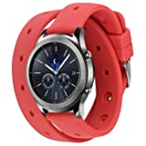Gear S3 Bands, Silicone Watch Bands for Women Double Tour Rubber Replacement Strap Quick Release Wristband Bracelet with Metal Clasp for Samsung Gear S3 Frontier/Gear S3 Classic Smart Watch (Red) (Color: 2 B smooth surface red, Tamaño: 22mm)