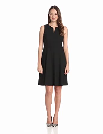 Anne Klein Women's Sleeveless V Neck A-Line Suit Dress with Waist Detail, Onyx, 0