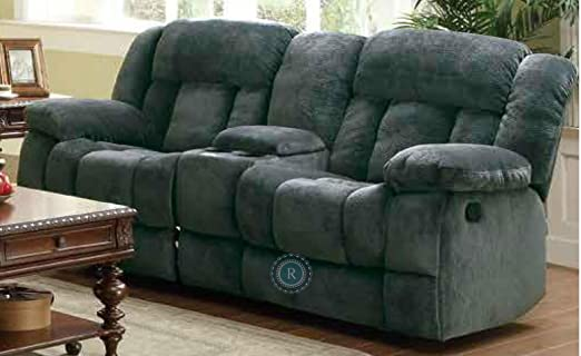 Laurelton Collection Glider Recliner Love Seat w/Center Console in Charcoal Textured Plush Microfiber By Homelegance