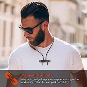 JYDMIX Magnetic Bluetooth Headphones 4.2 In-ear Wireless Earbuds with IPX5 Sweatproof, Stereo Noise cancelling, Lightweight, Secure Fit (metal, 8hours Play time, activate Siri)