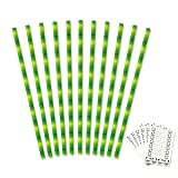 Tomnk Paper Straws Biodegradable Bamboo 150pcs and Panda stickers 6 sheets