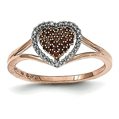 14ctt Rose Gold Polished Congnac and White Diamond Heart Shaped Ring