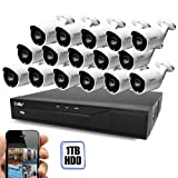 Best Vision 16CH 4-in-1 HD DVR Security Camera System (1TB HDD), 16pcs 1.3 MP High Definition Outdoor Cameras with Night Vision - DIY Kit, App for Smartphone Remote Monitoring (Color: White, Tamaño: 16 Cam)