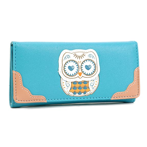 Damara Womens Faux Leather Stylish Lovely Owl Wallet Bifold Cute Bag,Blue