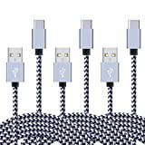 Huawei Mate 9/ P9/ P9 Plus/ P10/ P10 Plus Phone Charger, FiveBox 6Ft 3 Pack USB Type C Cherger Cable Braided Fast Charging Data Cord for Google Pixel XL, Nexus 6P 5X, LG G5 G6 V20 V30, HTC U11-White
