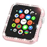 Leotop Compatible with Apple Watch Case 38mm, Metal Bumper Protective Cover Frame Accessories Women Girl Bling Shiny Crystal Rhinestone Diamond Compatible iWatch Series 3/2/1(Diamond Rose Gold, 38mm)
