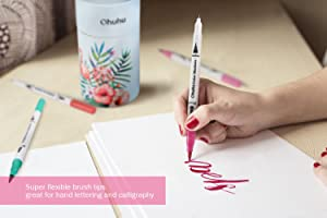 Ohuhu Art Markers Dual Tips Coloring Brush Pen & Fineliner Color Pens, 60 Colors of Water Based Marker Highlighter Pens for Calligraphy Drawing Sketching Coloring Book Bullet Journal Art Projects