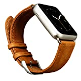 Jisoncase JS-AW4-06A20 Leather Wristband with Metal Clasp and Adapters for (Apple Watch), 42mm, Brown