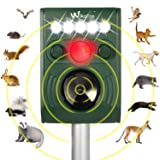 Wikomo Ultrasonic Solar Powered Pest Repeller, Waterproof Outdoor Animal Repeller with Ultrasonic Sound, LED Flashing Light and Motion Sensor for Cats, Dogs, Squirrels, Moles, Rats
