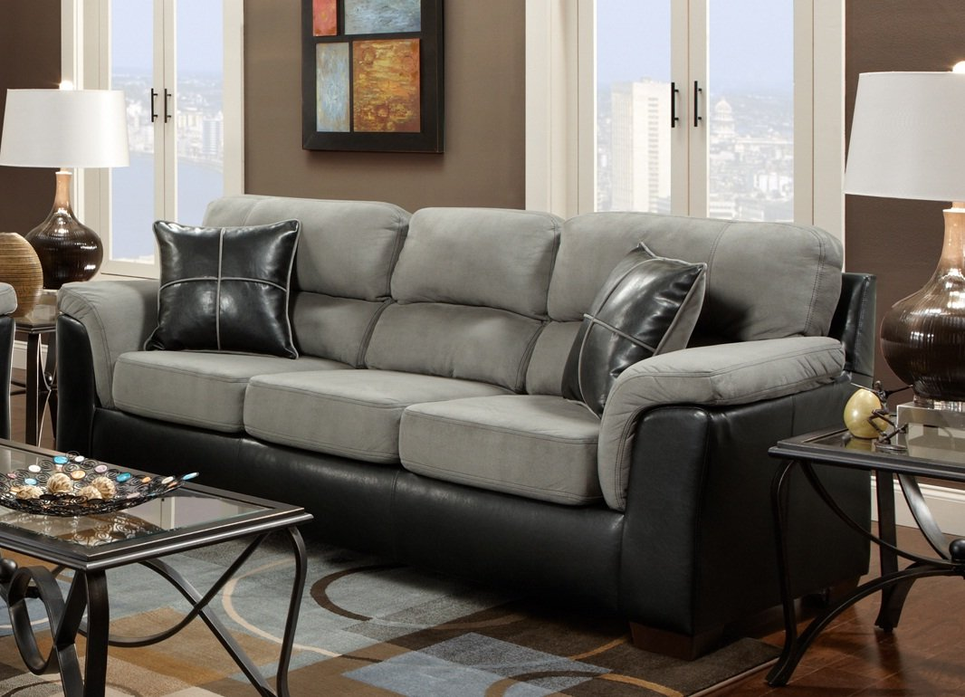 Roundhill Furniture Laredo 2 Toned Sofa And Loveseat Living Room Set