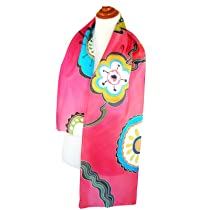 ArtisanStreet's Shocking Pink Silk Scarf - Hand Painted. One of a Kind, Signed.